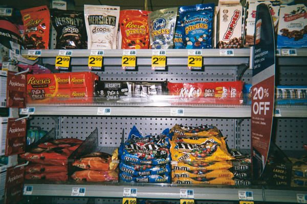 """Have you ever noticed, like when you walk in the store, like most of the time right upfront where the cash registers are it's candy, candy. All the healthy stuff is in the back, and right upfront is the candy, so it's the first thing you see 'cause everybody knows you're gonna buy it 'cause it's good. It's advertised good. People like it!"""