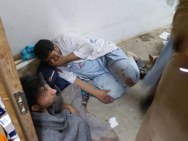 Injured Doctors Without Borders staff are seen after an airstrike in the northern Afghan city of Kunduz on Saturday. Doctors Without Borders has called the incident a war crime.