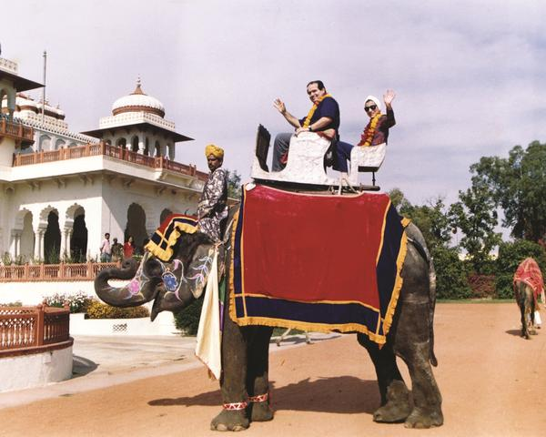 Ginsburg and Justice Antonin Scalia ride an elephant in India in 1994.