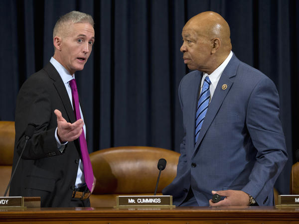 House Benghazi committee chairman Rep. Trey Gowdy (left), R-S.C., talks with the committee's top Democrat, Rep. Elijah Cummings, D-Md., during the hearing.