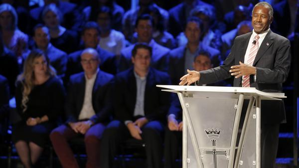 Republican presidential candidate Ben Carson speaks at a North Texas Presidential Forum hosted by Faith & Freedom Coalition and Prestonwood Baptist Church last weekend.