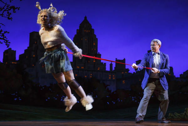 Annaleigh Ashford plays the title character — a poodle mix — in <em>Sylvia, </em>at the Cort Theatre in Broadway.<em> </em>Matthew Broderick plays the man who finds Sylvia in Central Park.