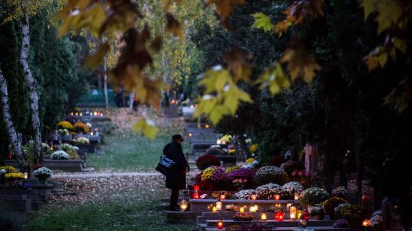 Candles are placed on graves at the <em>Slavicie udolie</em> cemetery in Bratislava, Slovakia, on November 1, 2015. The day is celebrated by many around the world as All Saints' Day, a time for remembering saints and deceased loved ones.
