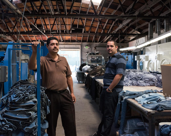 Raul Quintero and his son Oscar, owners of Blue Creations, at their factory.