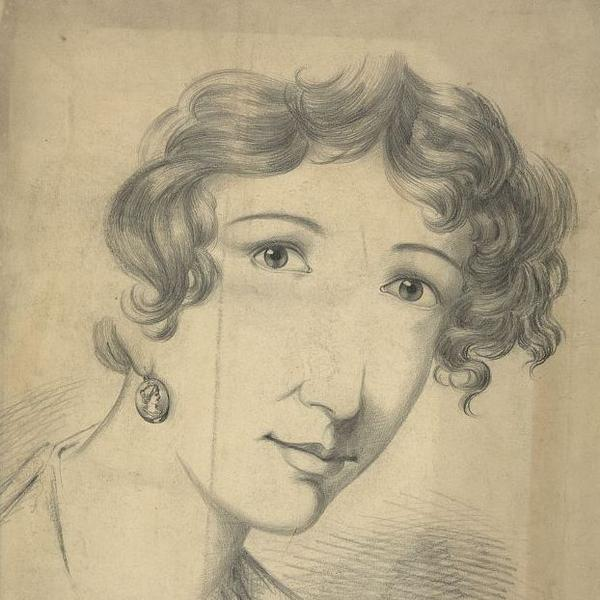 Sketch of an unidentified woman, between 1830 and 1860.