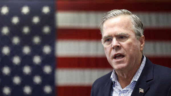 Republican presidential candidate and former Florida Gov. Jeb Bush speaks during a campaign stop in Franklin, N.H., on Friday. He has said the focus should remain on helping Christian refugees from Syria.