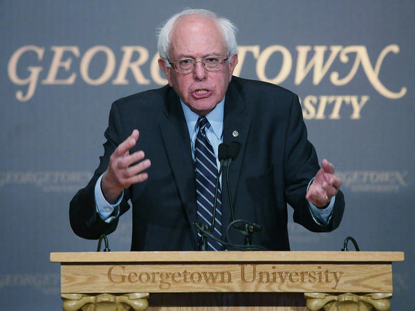 Sen. Bernie Sanders speaks about Democratic socialism at Georgetown University Thursday.