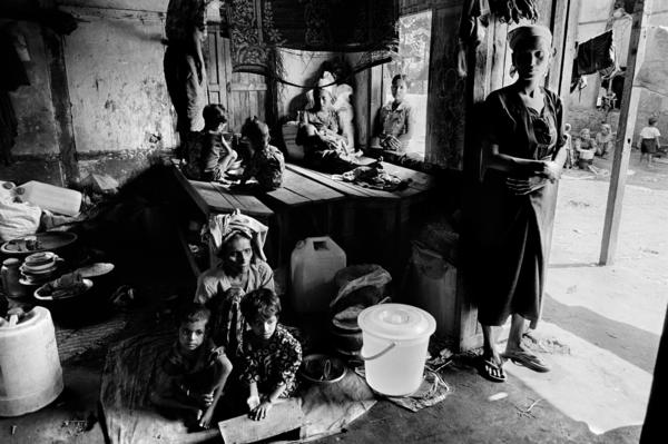 An estimated 140,000 Rohingya, a Muslim minority in Myanmar, were displaced from their homes during ethnic violence in 2012. They have been forced to live in internment camps like this one, Constantine says.