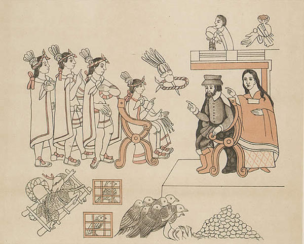 An artist's depiction of the meeting of Hernan Cortes and La Malinche with the Aztec emperor Montezuma II.