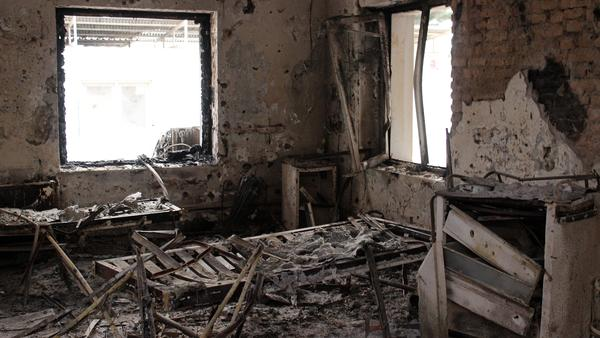 The charred remains of the Doctors Without Borders hospital is seen on Oct 16, almost two weeks after it was hit by a U.S. airstrike in Kunduz, Afghanistan.