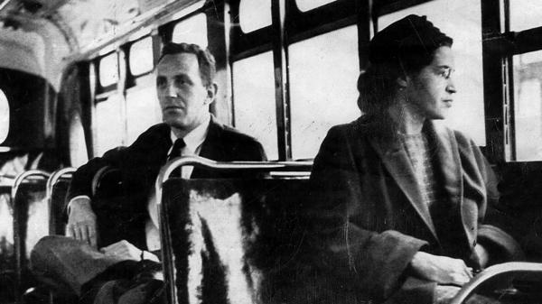 This undated photo shows Rosa Parks riding on the Montgomery Area Transit System bus. Parks refused to give up her seat on a Montgomery bus on Dec. 1, 1955, and ignited the boycott that led to the end of legal segregation in public transportation.
