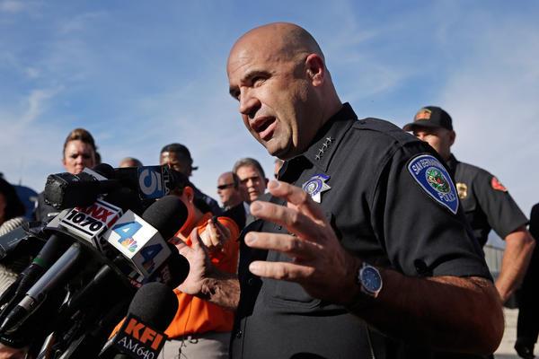San Bernardino Police Chief Jarrod Burguan says the suspects fled in a potentially dark-colored SUV.