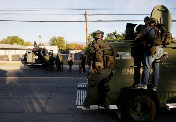 Authorities search for suspects in San Bernardino.