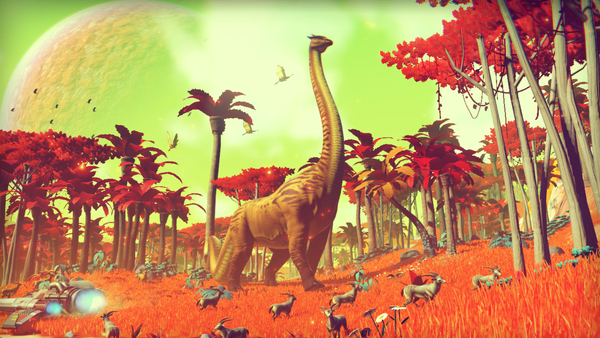 One of the estimated 18 quintillion worlds — each featuring exquisite detail of geology, flora and fauna — in the upcoming game <em>No Man's Sky</em>.