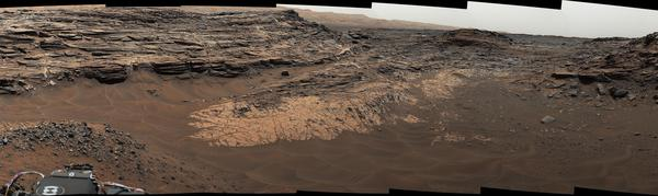 """NASA's Curiosity Mars rover captured this composite view of the """"Marias Pass"""" area, showing layers of mudstone and sandstone. The rover found high levels of silica, as well as a rare mineral it had never seen on Mars: tridymite."""