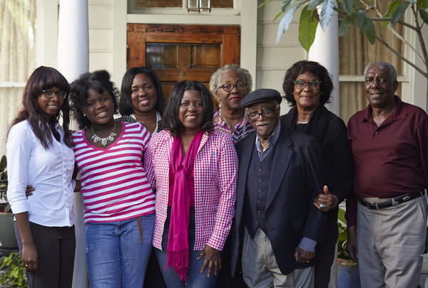Ranging in age from 12 to 95, (left to right) LaCurtia Brown, Serra Williams, Sherrie Snipes-Williams, Genita Snipes, Alfredia Snipes, Judge Richard Fields, Liz Alston, and Albert Alston pose for a family portrait outside Liz and Albert Alston's home in Charleston, S.C.