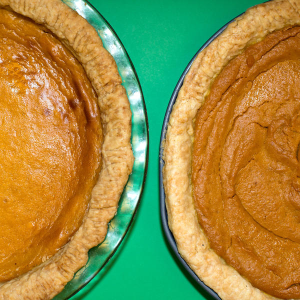 The pie on the left was made with cream cheese and squash; the pie on the right was made with canned pumpkin.