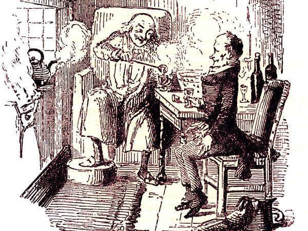 At the end of Charles Dickens' 1843 classic, <em>A Christmas Carol</em>, Ebenezer Scrooge and his long-abused employee, Bob Cratchit, enjoy a mug of Smoking Bishop<em>. </em>It's a drink loaded with English history, politics and class identity. Illustration by John Leech, 1817-1864.