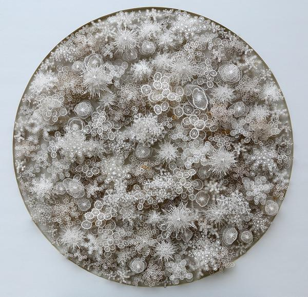 <em>Magic Circle</em> borrows from the forms of bacteria, microbes, diatoms and coral. Brown needed a laser to cut some of the more intricately designed shapes.