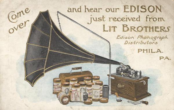 An advertisement for Edison's phonograph circa 1900.