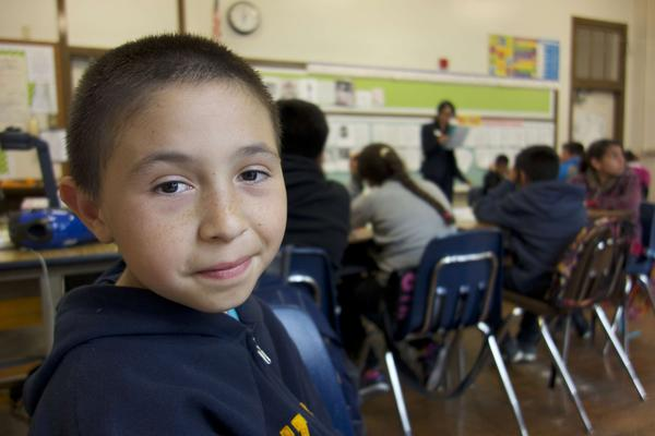 José Anzaldo starts fifth grade at a new school. He went to seven schools during the three years of filming <em>East Of Salinas.</em>