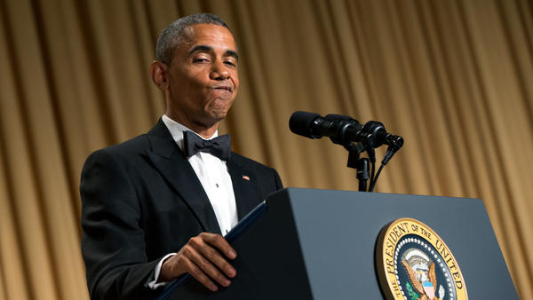 President Obama delivers remarks during the White House Correspondents' Association dinner in April.
