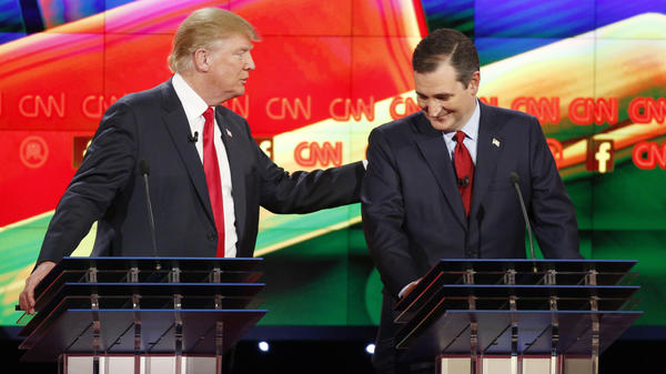 """Donald Trump (left) and Ted Cruz joke about Trump's comments that Cruz was a """"maniac"""" and didn't have the right temperament to be president. They played nice then, but will they again?"""