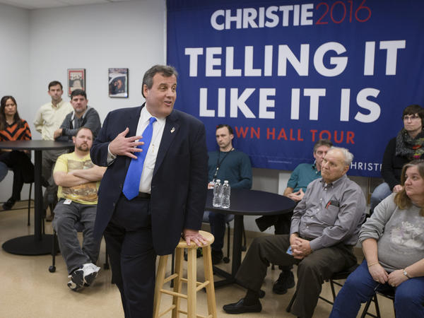 New Jersey Gov. Chris Christie speaks during a town hall campaign stop in New Hampshire.