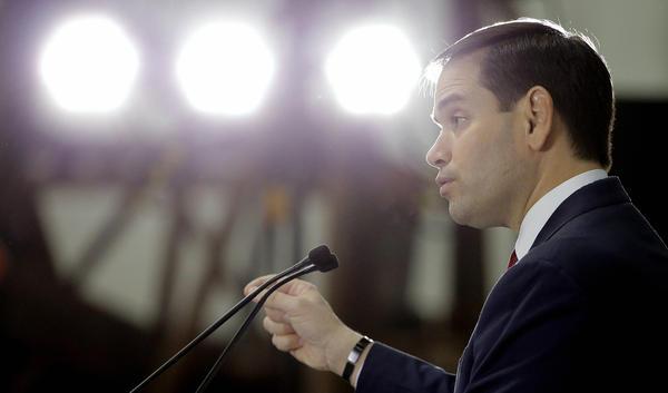 Sen. Marco Rubio, R-Fla. speaks during a campaign stop in Sarasota, Fla.