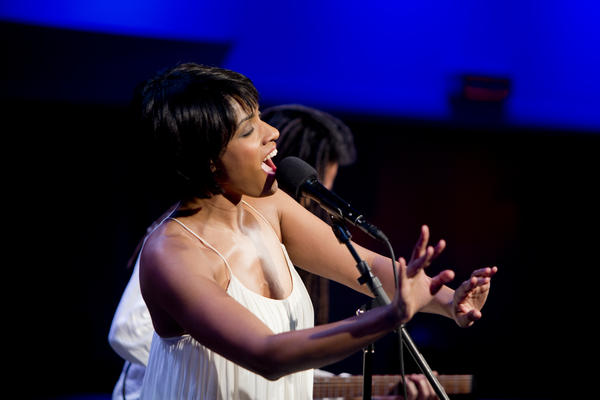 Accompanied only by guitarist Brandon Ross, vocalist Alicia Hall Moran sang in a territory between operatic <em>lieder</em> and spirituals.