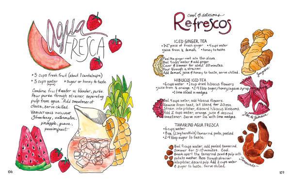 Recipes for <em>agua fresca, </em>beverages made with fresh fruit, and<em> refrescos</em> like iced ginger and iced hibiscus teas.