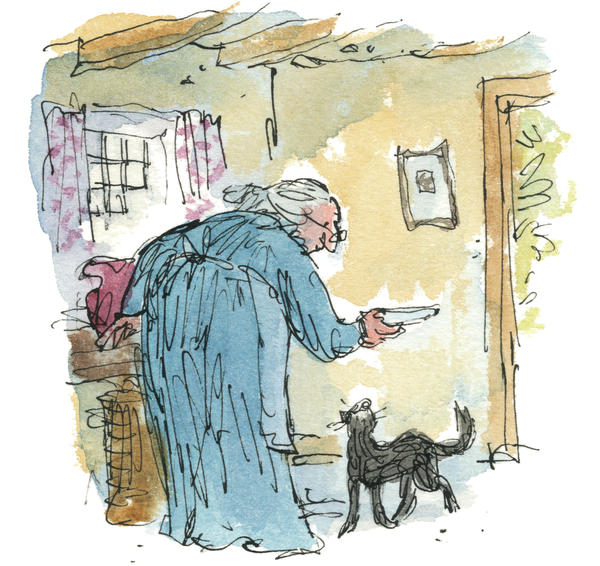 Quentin Blake's illustration of the new Kitty-in-Boots.