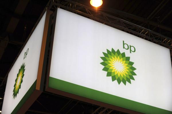 A picture shows the logo of British energy giant BP during the World Gas Conference exhibition in Paris on June 2, 2015. (Eric Piermont/AFP/Getty Images)