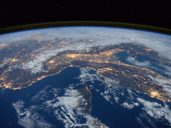 """ESA astronaut Tim Peake posted this Jan. 29 photo on his social media channels, commenting: """"Beautiful night pass over Italy, Alps and Mediterranean."""""""