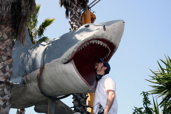 """NPR reporter Cory Turner meets the fourth Bruce in 2010 and finally gets to """"touch the shark."""""""