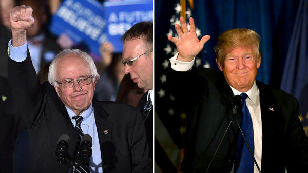 Bernie Sanders and Donald Trump deliver victory speeches at their respective watch parties in New Hampshire.