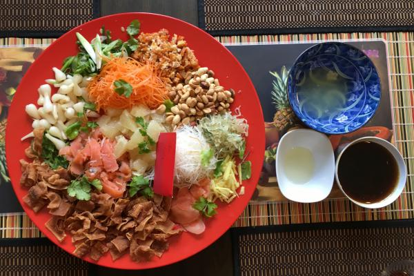 "Yusheng, a traditional Southeast Asian dish meaning ""Prosperous Toss,"" as prepared by Alex Wong at his home in Maryland."