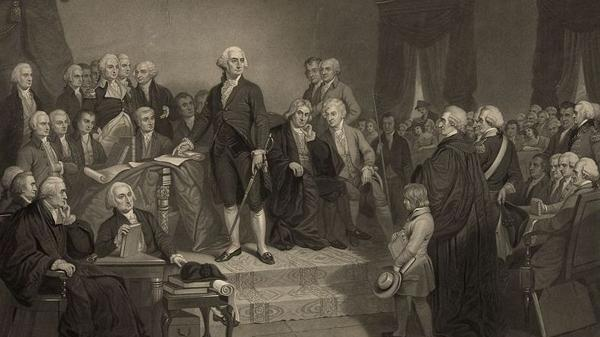 George Washington delivers his inaugural address in April 1789.