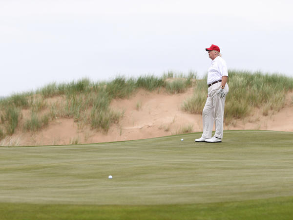 Donald Trump played a round of golf after his Trump International Golf Links Course opened in July 2012 in Balmedie, Scotland, near Aberdeen.