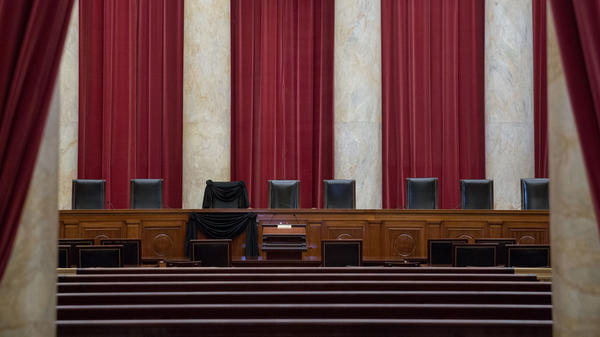 A black wool crepe was draped over Justice Antonin Scalia's chair at the Supreme Court following his death.