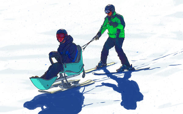 The adaptive skiing techniques used by the students and coaches at Massachusetts Hospital School's recreational program in Canton, Mass.