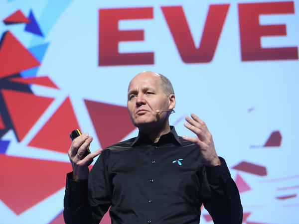 Sigve Brekke, CEO of Telenor Group, gives a keynote speech Feb. 23 at the Mobile World Congress in Barcelona, Spain.