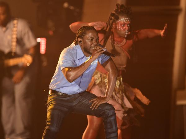 Kendrick Lamar performs at the Grammy Awards in Los Angeles in February.