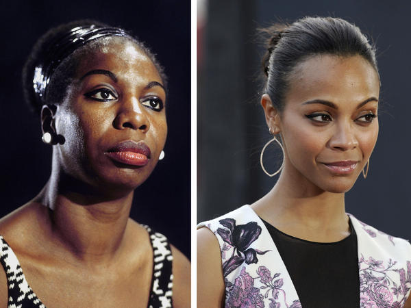 In this composite image, a comparison has been made between Nina Simone and actress Zoe Saldana.