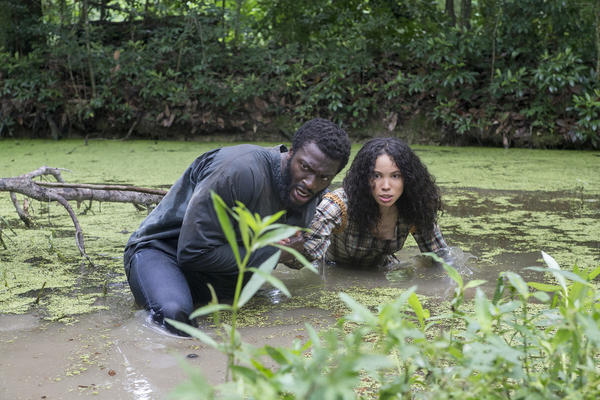 "Aldis Hodge, pictured above with Jurnee Smollett-Bell, plays Noah, the leader of the underground resistance. He says the show's impact stays with him even after the cameras are off: ""There's no way that you can come from set without taking a little piece of that with you,"" he says."