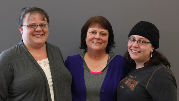 Tanya James (center), with her daughters Trista James (left) and Michelle Paugh on a recent visit with StoryCorps.