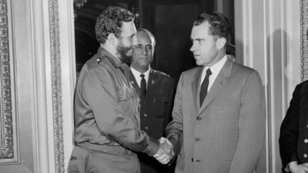 Richard Nixon, then vice president, meets with Cuba's Fidel Castro on April 19, 1959, in Washington. Castro had just seized power a few months earlier and U.S.-Cuba relations had not yet soured.