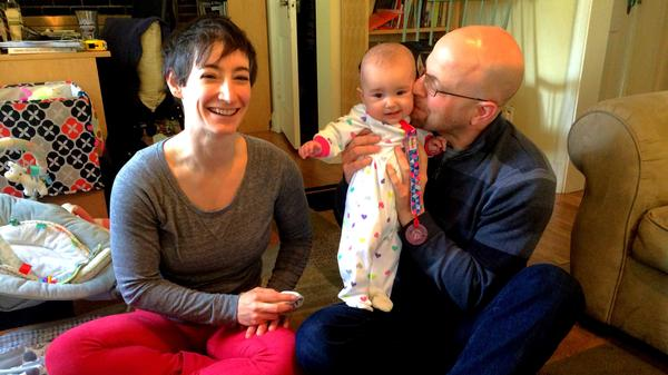 Mandy and Rob Keithan had to take turns to take care of their baby Eleanor when she was born. Neither of them had a job that offers paid family leave.