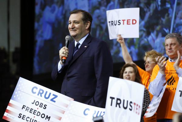 Sen. Ted Cruz speaks at the Colorado Republican State Convention, in Colorado Springs, Colo., on Saturday, where he added 13 more delegate wins to his earlier sweep of 21 state delegates.