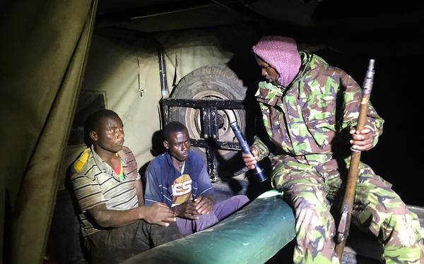 Paul Zakayo (left) and Nasa Jackson Mairi were nabbed by a team of park rangers at the Mara Conservancy in Kenya and charged with killing three impalas and a gazelle in the wildlife sanctuary.